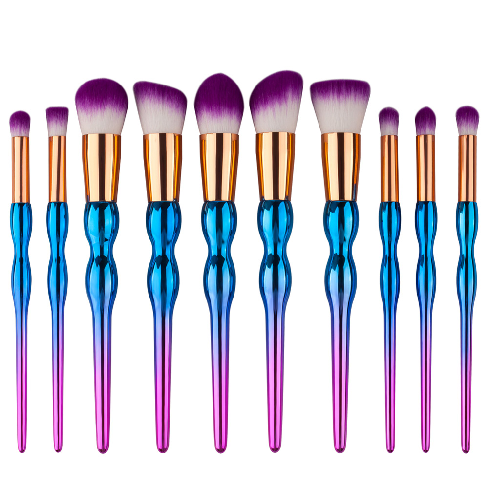 Cosmetic Purple Metal Handle Makeup Brushes Set 10Pcs Maquillage Beautiful Powder Hair Brush Eyeshadow Brush Tool coloring of trees