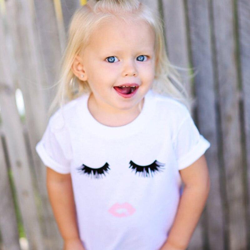7a3e60388 Hot Sale Girls Summer T Shirts Eye Print Kids Casual Cotton Tops Tees  Eyelash Pattern Children