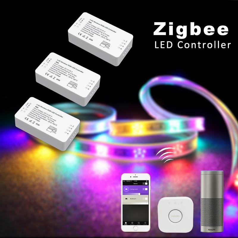 ZLL contrôleur compatible avec TEINTE, Lightfy, Echo plus, Homee, DC12-24V Zigbee contrôleur LED rgbw/rgb + cct/ww/cw bande led contrôle