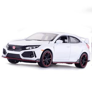 Image 4 - Diecast รุ่นรถ Honda Civic Type R 1/32 โลหะจำลองดึงกลับรถของเล่นไฟรถสำหรับของขวัญเด็กสำหรับเด็ก
