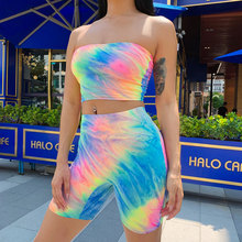 Women Sexy Two Piece Set Bandeau Crop Top Shorts Summer Sexy