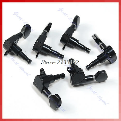 Black Inline Guitar String Tuning Pegs Tuners Machine Head 6L Left
