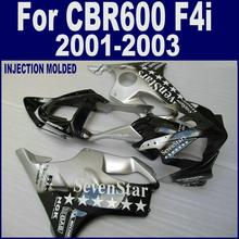 Соответствовать черный серебристый звезды части обтекателя для HONDA CBR 600 F4i 01 02 03 CBR600 F4i 2001 2002 2003 тела запасных частей OPGR