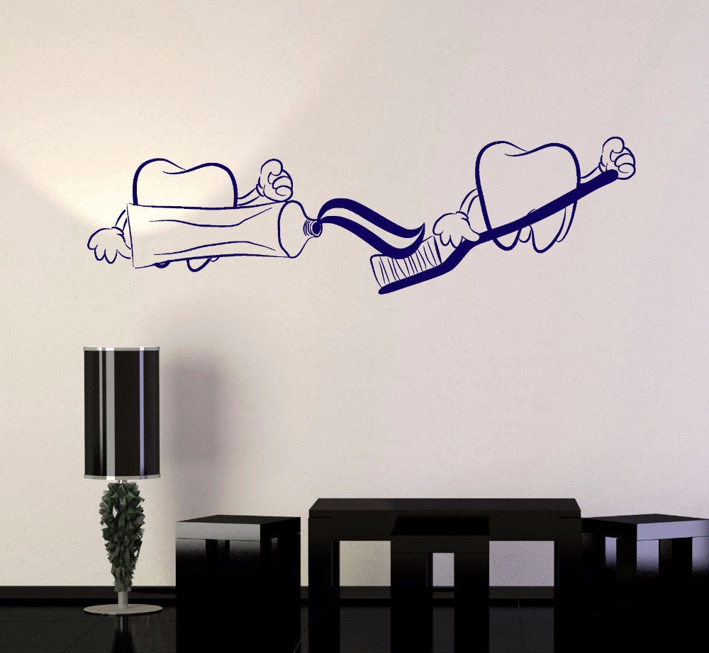 Teeth toothpaste wall art sticker for bathroom creative vinyl wall decals dentist dentistry adesivo de parede paper decal s009 in wall stickers from home
