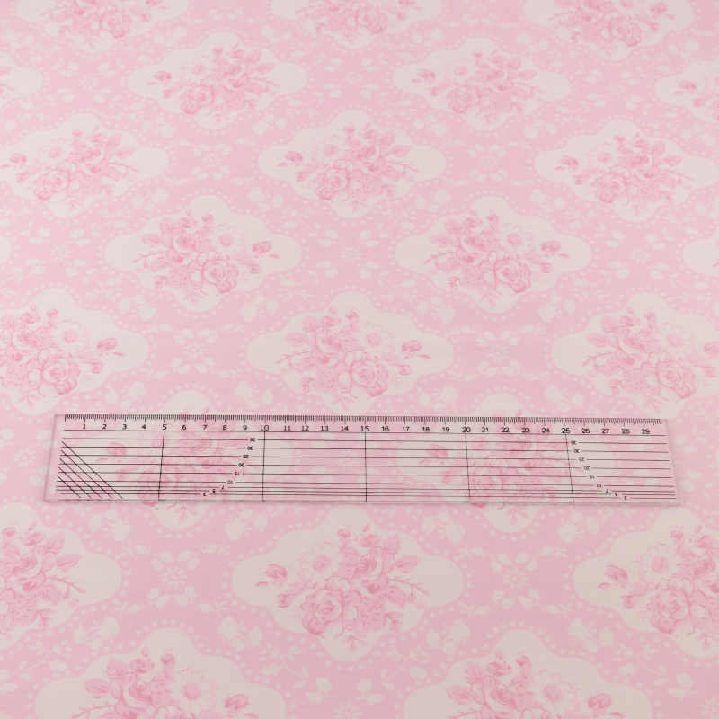 News Cotton Fabric Pink Printed Flowers Designs Quilting Patchwork Home Textile Twill Bedding Scrapbooking Sewing Tecido Tela
