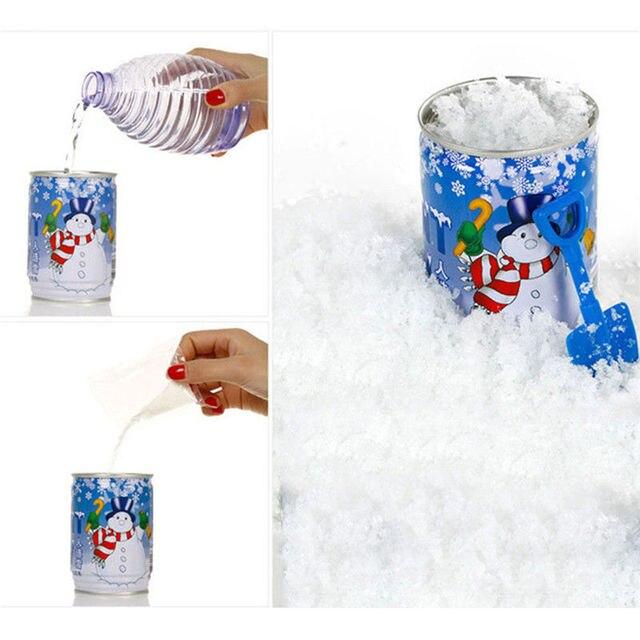 Branca de Neve para o Natal Falso Neve Mágica Instantânea Enlatados neve artificial Decorações Para O Natal de Casamento Fofo Super Absorvente