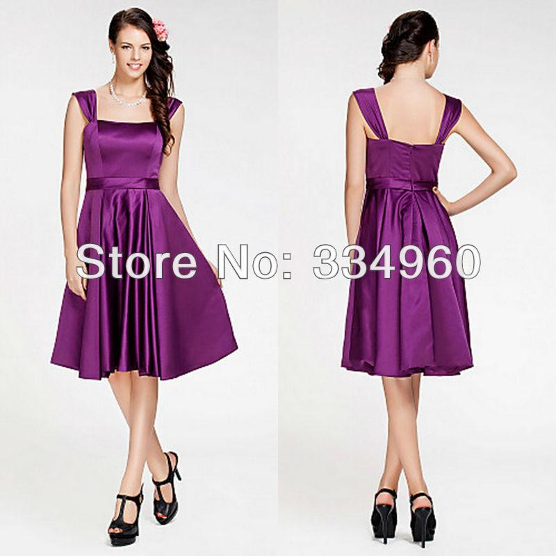 junior bridesmaid dress pattern purple knee length a line ...