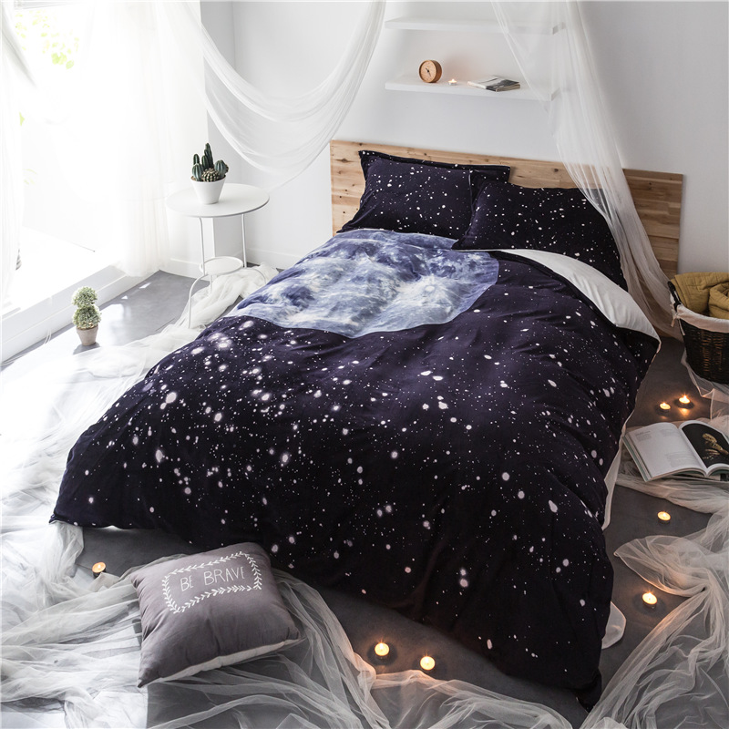 Space duvet covers promotion shop for promotional space - Drap housse king size ...
