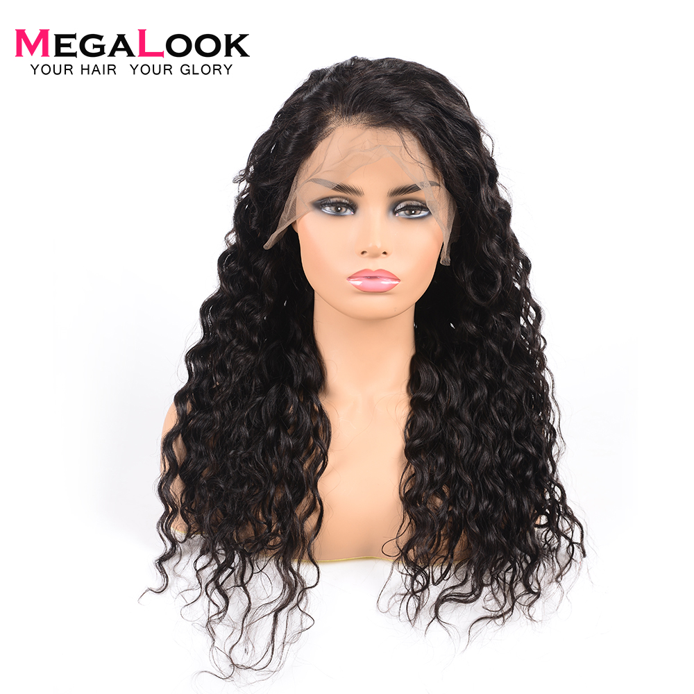 Megalook Brazilian Water Wave 360 Lace Frontal Wig 180 Density Remy Hair Wigs Lace Front Pre