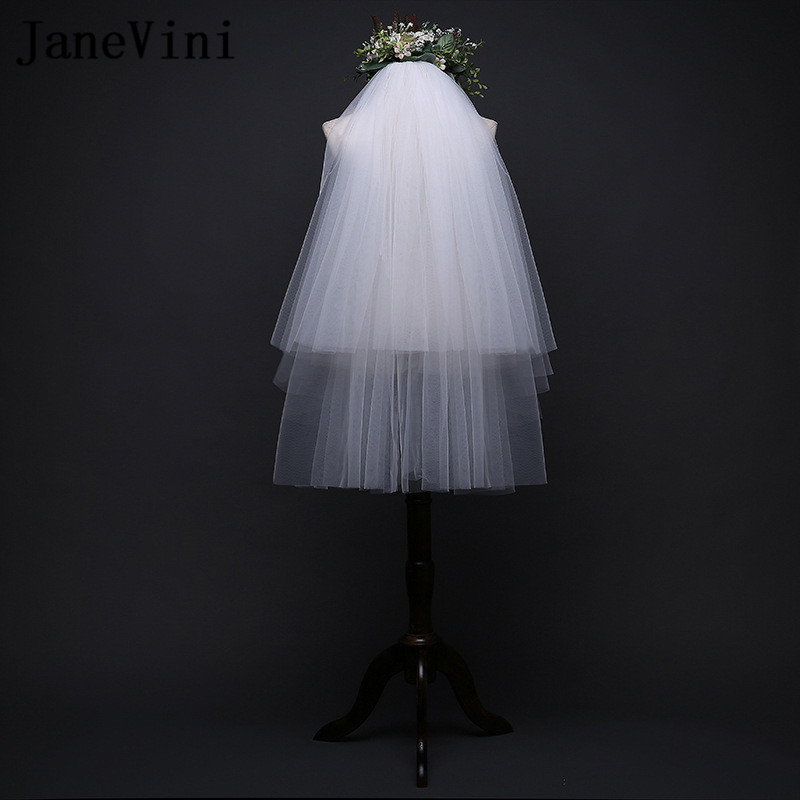 JaneVini 2018 Simple Two Layer Wedding Shoulder Veil For Bride Short Cut Edge White/Ivory Bridal Veils With Comb Accessories