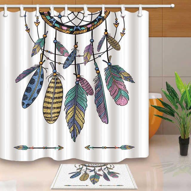 African Dreamcatcher Shower Curtain Fabric Cloth Drop Shipping Waterproof Polyester Moldproof Bathroom With Rings
