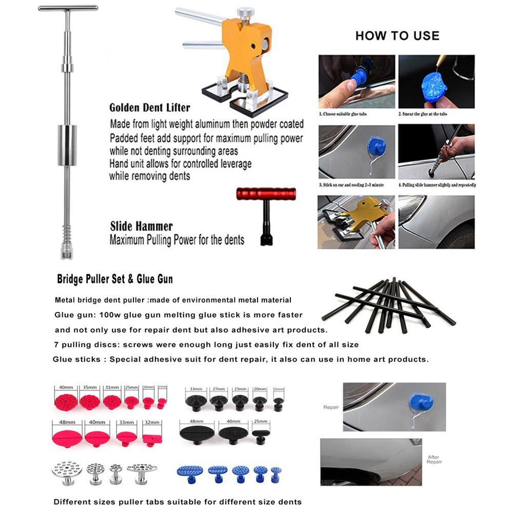 medium resolution of pdr tool for hail damage removal rods dent puller slide hammer dent lifter glue gun tap down light reflect board in hand tool sets from tools on