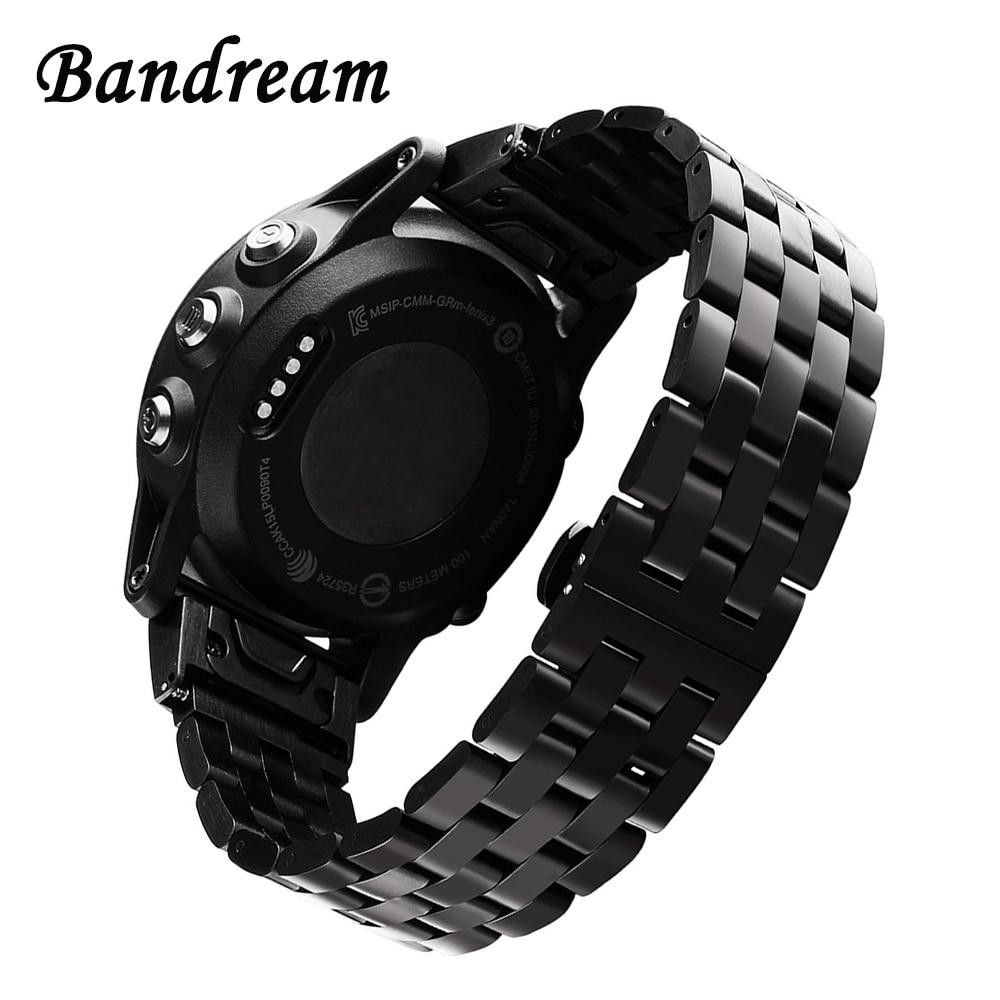Titanium Steel Watchband Quick Easy Fit for Garmin Fenix 5/5 Plus/Forerunner 935/Approach S60/Quatix 5 Watch Band Wrist Strap