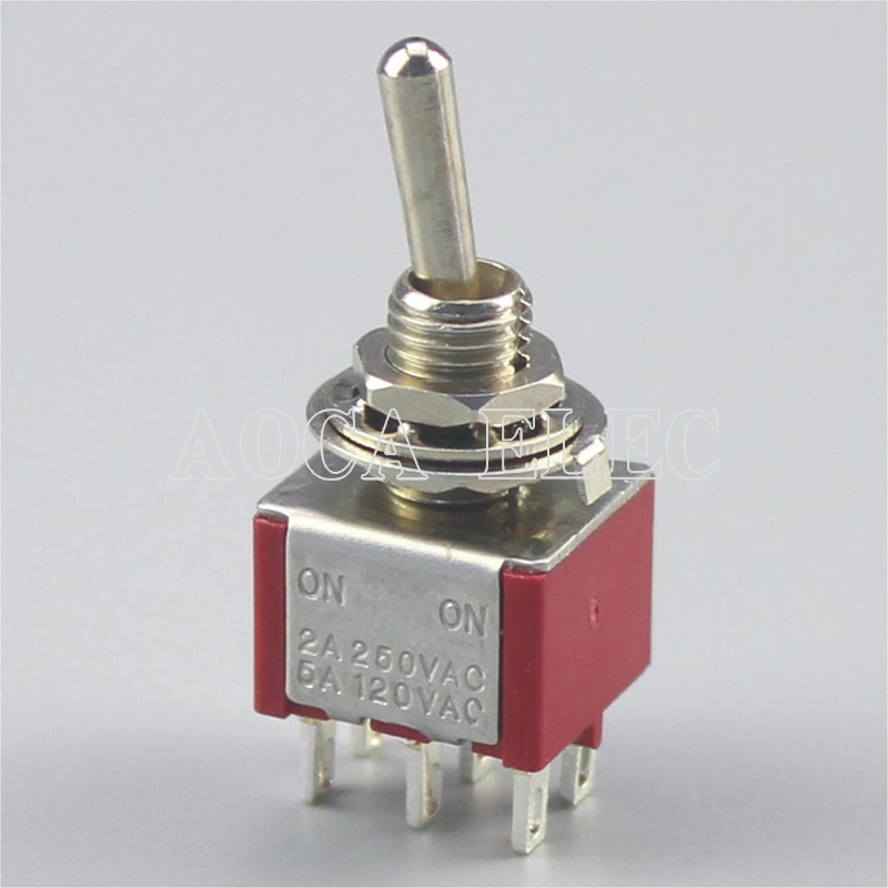 100PCS MTS 202 Toggle Switch 6MM 3A 250VAC 6A 125VAC 6PIN ON ON Latching 2P2T DPDT