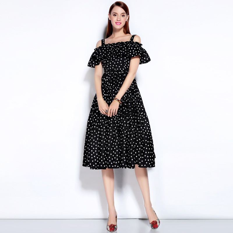 2018 Autumn Newest Brand Fashion Style A Line Slash Neck Off the Shoulder Ruffled Dots Print Elegant Long Dresses Women in Dresses from Women 39 s Clothing