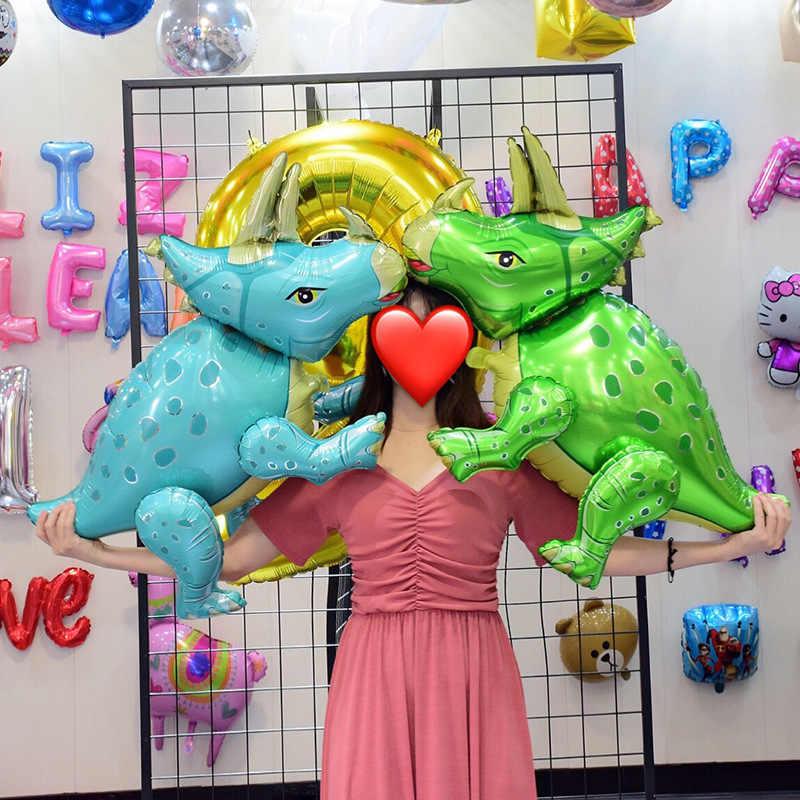 1 pcs 4D dinossauro balões folha de pé Azul verde dinossauro dragão Vermelho deco aniversário fontes do partido menino kids brinquedos balões de hélio balões