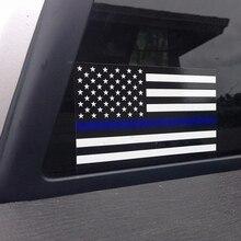 цена на Police Officer Thin Blue Line American Flag Vinyl Decal Car Sticker O23