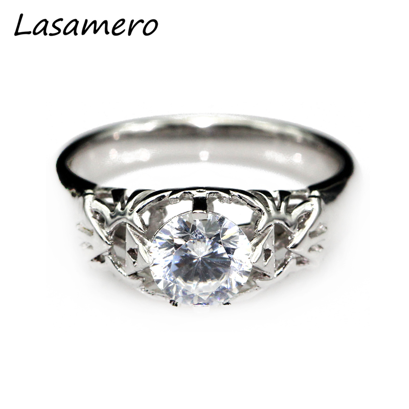LASAMERO Round 1CT Moissanites Solitaire Ring Legend of Zelda Triforce Inspired 9k White Gold Engagement Wedding Ring