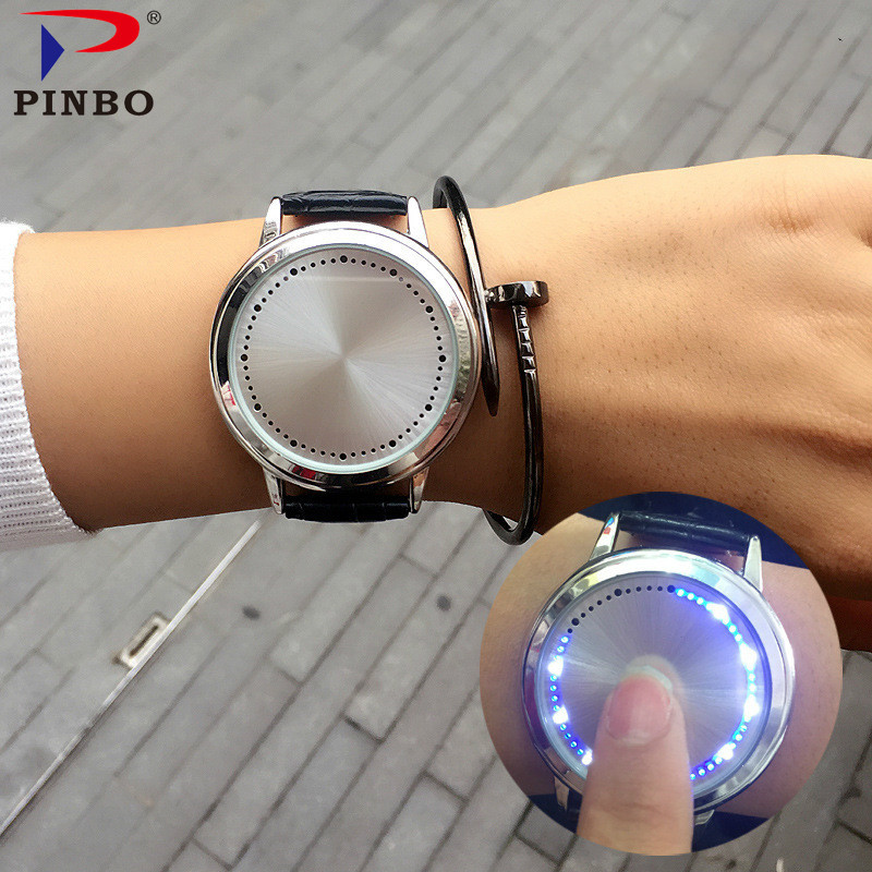Creative Personality Minimalist Touch Screen Waterproof LED Watch Leather Men Women Couple Watch Electronic Watch C-60 PINGBO