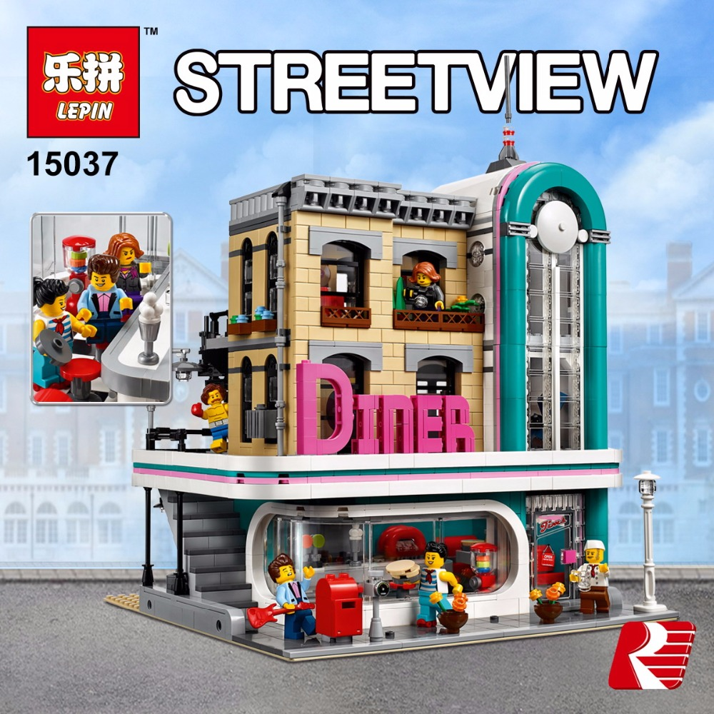 In Stock Lepin 15037 The Downtown Diner Set Genuine Streetview Series Legoiong 10260 Building Blocks Bricks Funny Toys DIY Gifts lepin 16018 genuine the lord of rings series the ghost pirate ship set building block brick funny toys 79008