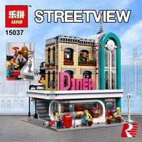 In Stock Lepin 15037 The Downtown Diner Set Genuine Streetview Series Legoiong 10260 Building Blocks Bricks