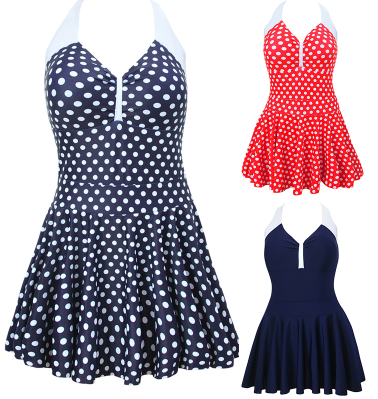 NWT Sexy One Piece V-Neck Swimwear Sweety Dotted Print Dress Swimsuit  Halter Skirt Bathing suit Plus Size M~4XL one piece swimsuit cheap sexy bathing suits may beach girls plus size swimwear 2017 new korean shiny lace halter badpakken