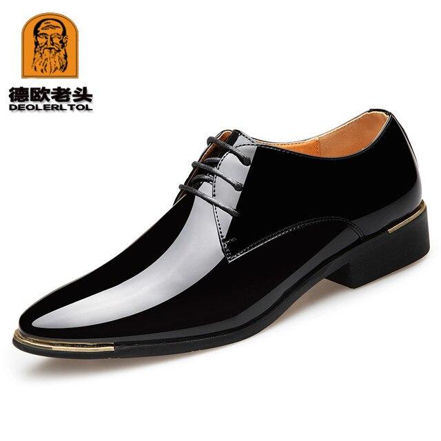 2018 недавно Для мужчин качество лакированные кожаные туфли Zapatos de hombre размер 38-47 Черная кожа мягкая человек Туфли под платье