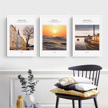HAOCHU Nordic Landscape Canvas Art Print Painting Poster Modern Dusk Sunset City Building Seascape Personality Home Wall  Decor