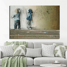 Banksy Child Graffiti On The Wall Canvas Painting Prints Living Room Home Decoration Modern Art Oil Poster Picture