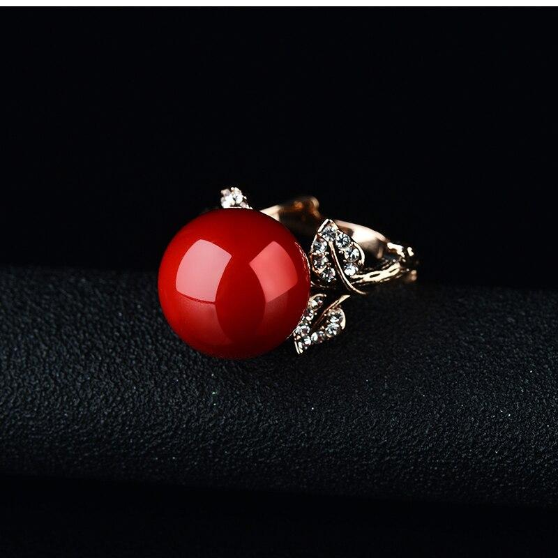 K'S Naprava prirodni umjetni koraljni prsten crveni koraljni prsten - Modni nakit - Foto 6