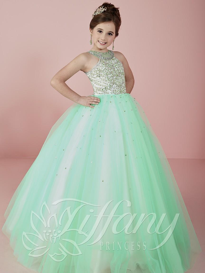 cdd22cc2e59f Ball Gown Light Green Puffy Pageant Dresses Halter Floor Length ...
