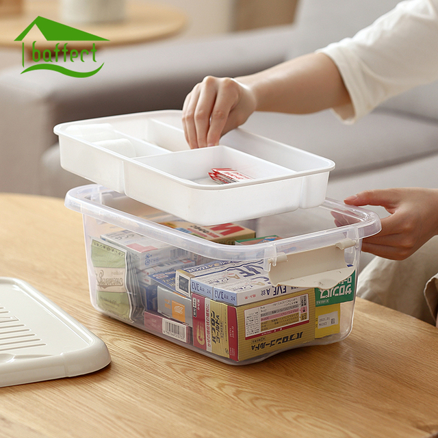 Home First Aid Kit Plastic Medical Storage Boxes Medicine Container Drug  Bottle Save Space 2 Layers