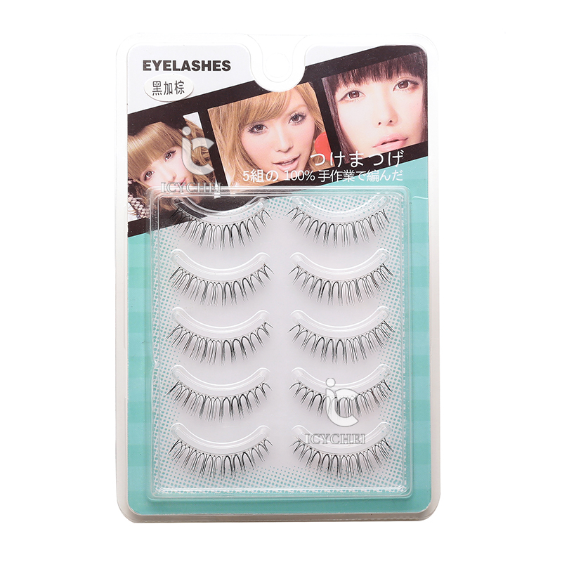 ICYCHEER 5 Pairs Natural Lower Under Bottom Fake False Eyelashes Eye Lashes Hand Made Transparent Terrier Hot