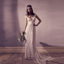 2019 Vintage Lace Bohemian Wedding Dress Top Quality Sexy V Neck Bridal Boho Cap Sleeves Backless Beach Aline Gown