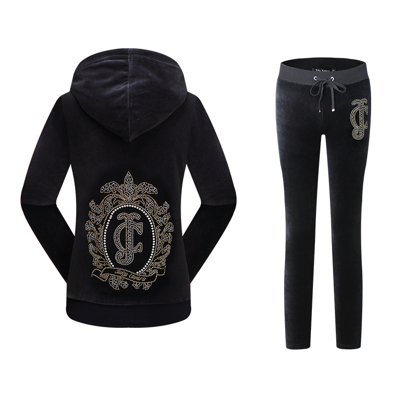 Juicy Lovers Brand Women Sporting Suits Set Navy Blue Black Green Velvet Casual Tracksuits Hooded Collar