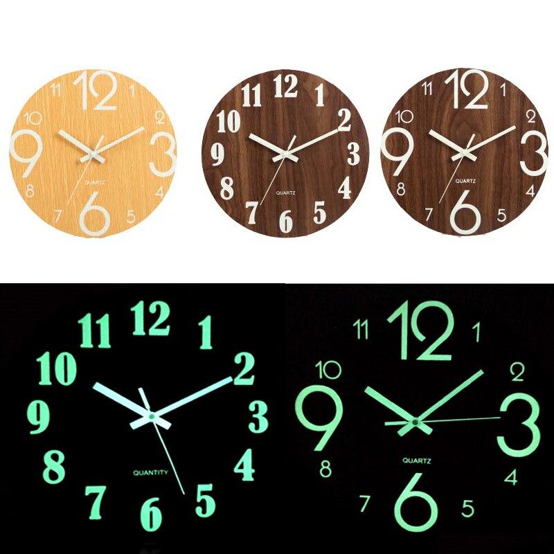 Digital Number Wall Clock DIY 3D Silent Glow Dark Acrylic Luminous Hanging Brief Quiet Modern