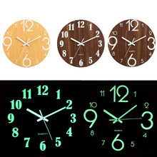 Digital Number Wall Clock DIY 3D Silent Glow Dark Acrylic Luminous Hanging Brief Quiet Modern