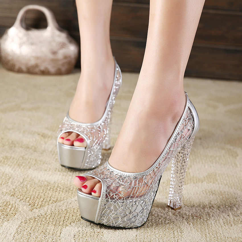 Mode vrouwen mesh schoenen zomer nieuwe stijl sandalen vrouwelijke dik met crystal hoge hakken vis mond mesh opengewerkte dames schoenen