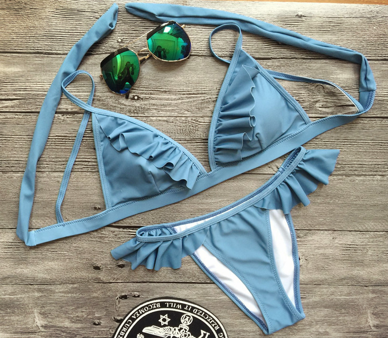 bikinis 2017 new blue swimsuit beachwear bathing suit maillot de bain femme sexy push up bikini