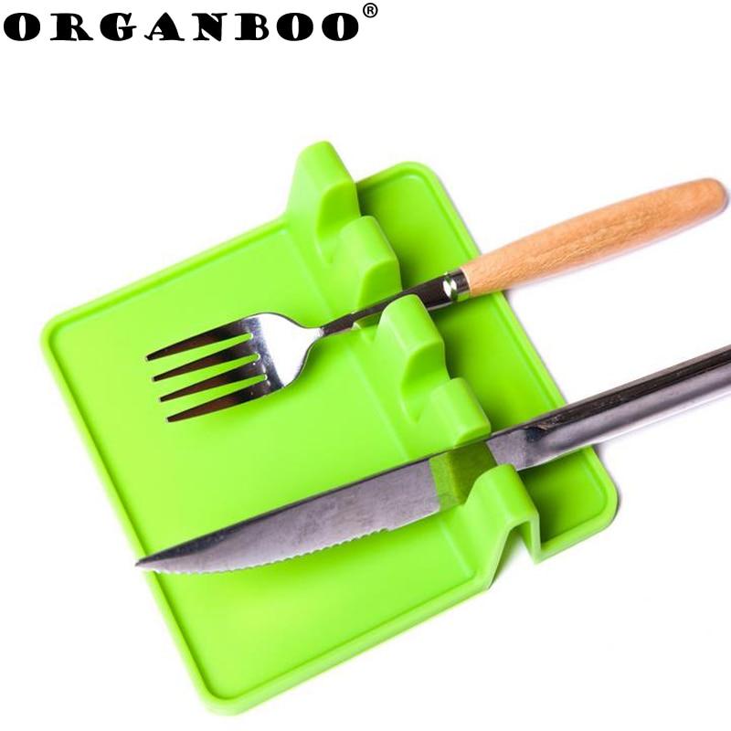 ORGANBOO 1PC Kitchen Utensils Silicone Fork Spoon Rest