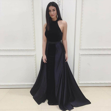 Bbonlinedress Mermaid Velvet Prom Dress with Detachable Satin A Line Skirt Sexy Halter Neck Backless Evening Long