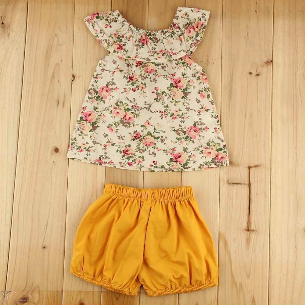 Puseky/комплект одежды для маленьких девочек, Цветочная рубашка, топы, шорты с короткими рукавами и цветочным принтом, штаны, одежда из 2 предметов для маленьких девочек