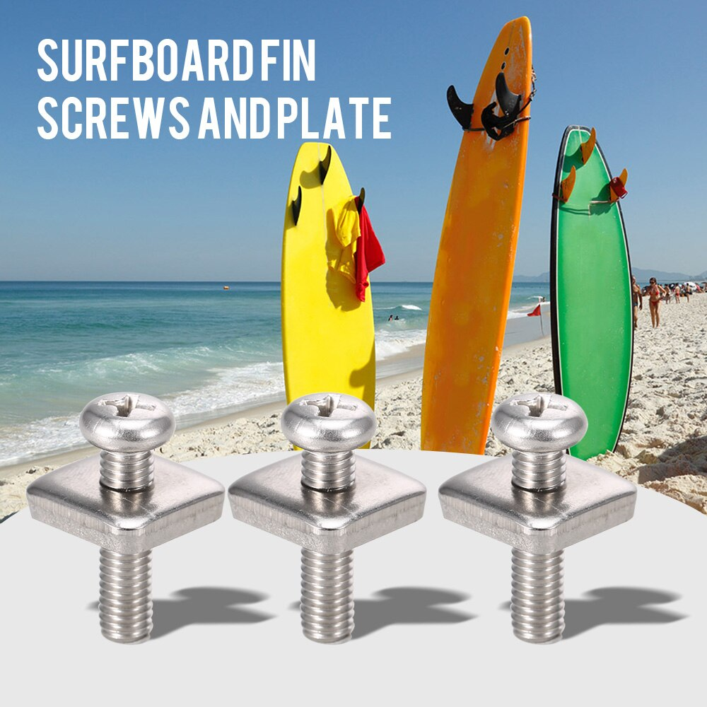New High Quality SUP Fins Screws Stainless Steel Long Board Fin Screws And Plate 2 / 3 Packs Water Sports Boat Kayak Accessories