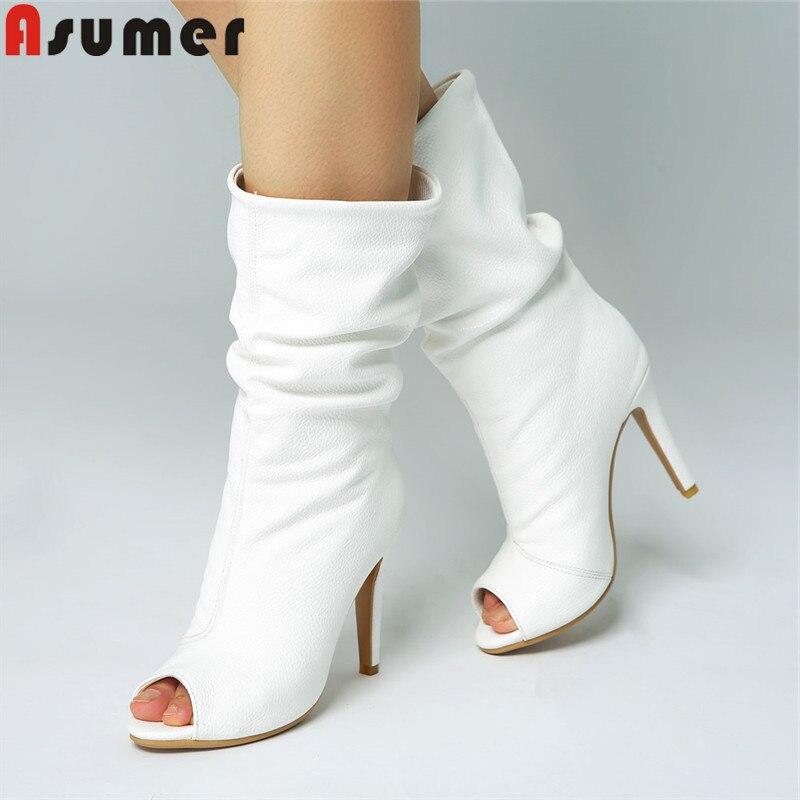 Asumer 큰 사이즈 34 47 패션 봄 가을 신발 여자 들여다 발가락 하이힐 부츠 우아한 무도회 중반 송아지 부츠 여성-에서미드 카프 부츠부터 신발 의  그룹 1