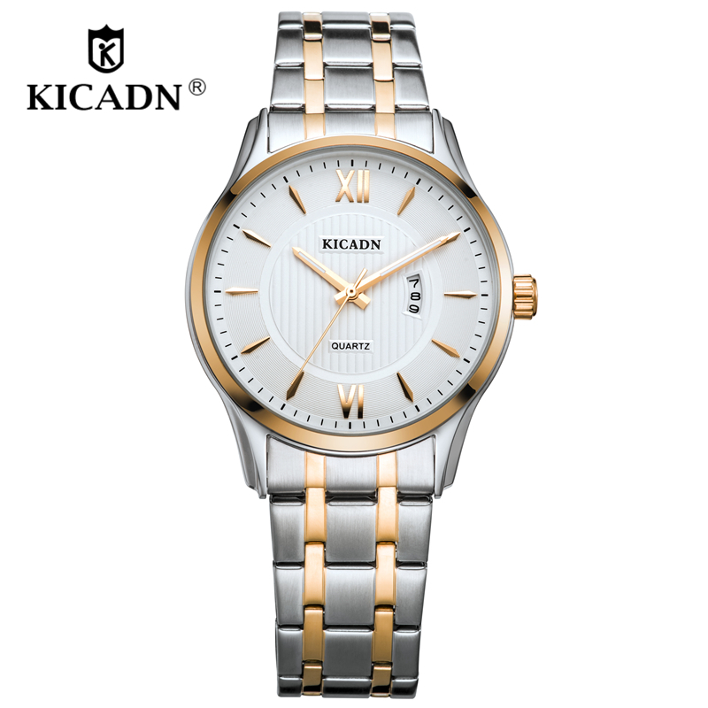 Gentleman KICADN Luxury Quartz Men Watches 2018 New Fashion Rose Gold Top Brand Wristwatches Erkek Kol Saati Watch Clock Gifts business men dress watch mens fashion quartz watches analog calendar steel male wristwatches kicadn casual clock erkek kol saati