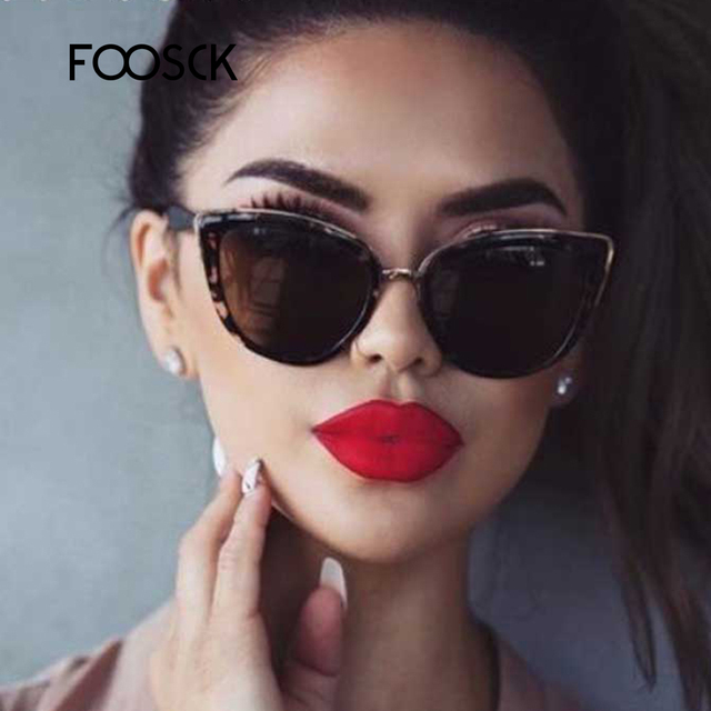 FOOSCK Cat Eye Sunglasses Women Brand Designer Vintage Gradient Sexy Retro Cateye Sun glasses Female Eyewear UV400