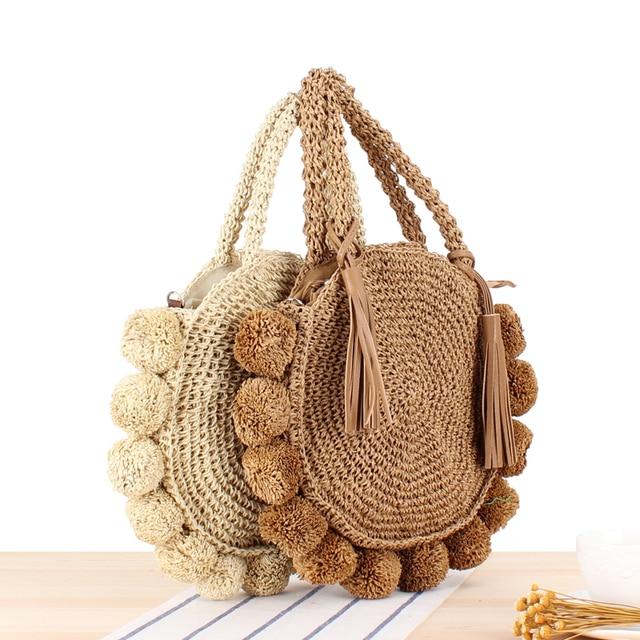 New Beach Woven Handbags Summer Women Fashion Round Ball Bag Rattan Woven Shoulder Messenger Travel Straw Bag