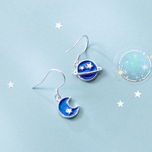 925 Sterling silver Stud earrings The blue planet moon Women's fashion jewelry wholesale Holiday gifts цена