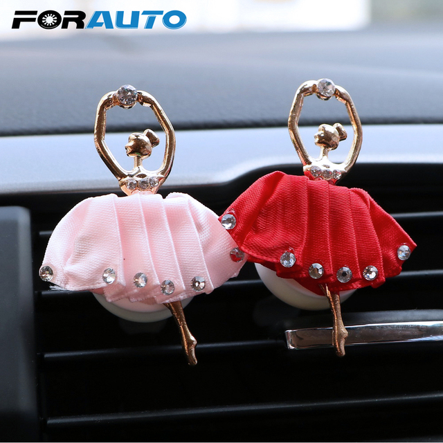 FORAUTO Auto Outlet Air Freshener Solid Fragrance Car Air Vent Perfume Car Styling Diamond Ballet Girl Auto Decors Accessories