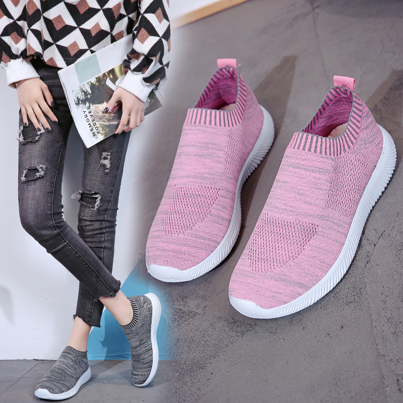 HTB1JXZRanHuK1RkSndVq6xVwpXa2 Rimocy plus size breathable air mesh sneakers women 2019 spring summer slip on platform knitting flats soft walking shoes woman